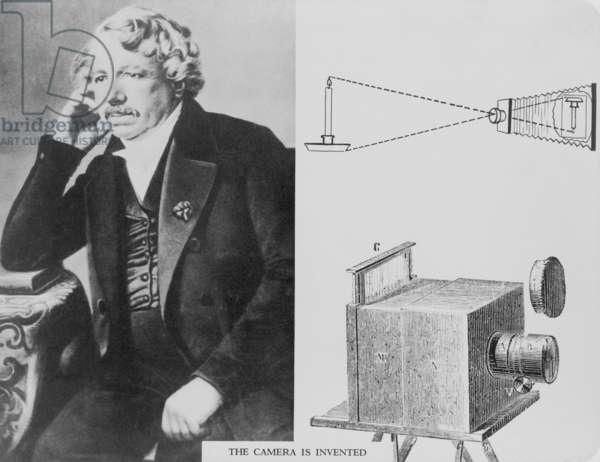 Louis Daguerre (1787-1851), with an illustration of the camera he invented. c. 1840