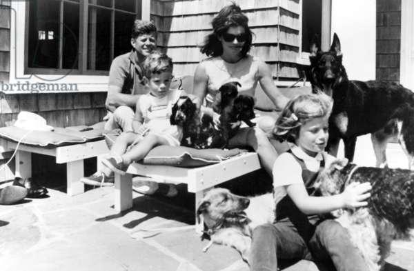 John F. Kennedy, John F. Kennedy, Jr., Jacqueline Kennedy, Caroline Kennedy, early 1960s.