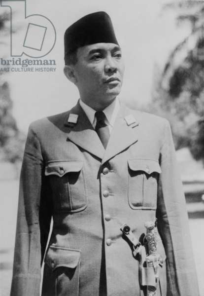 President Sukarno of the new Republic of Indonesia in 1945. After the Japanese surrender, Sukarno and Mohammad Hatta declared Indonesian independence on August 17, 1945. He led the revolution that ousted the Dutch in 1949.