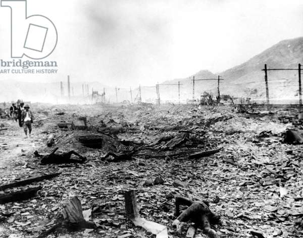 World War II, charred bodies laying amongst the destruction from the Atomic Bombing of Nagasaki, Japan, 09/06/45