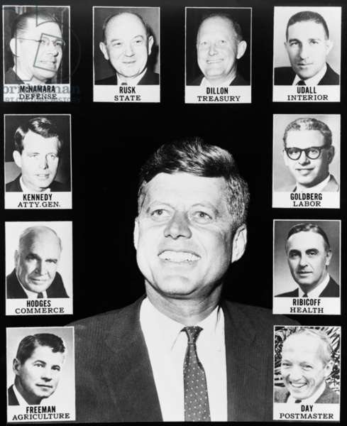 President John Kennedy and his cabinet. Jan. 1961