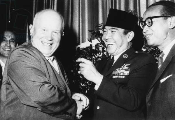 Indonesia's neutralist President Sukarno with Soviet Premier Nikita Khrushchev. They were attended a reception at New York's Waldorf Astoria Hotel, during the United Nations General Assembly, October 3, 1960