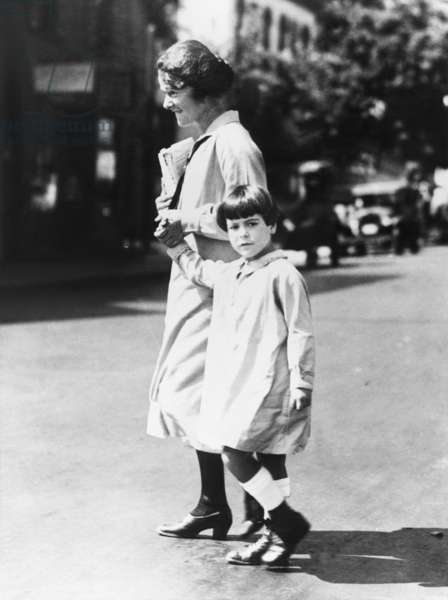 Mrs. Nicola Sacco and her daughter leaving a hearing for a new trial for her husband. Affidavits were sworn by two former agents of the Department of Justice, claiming lack of fair play for the defendants. With these affidavits, defense Attorneys William G. Thompson and Herbert Ehrmann sought a new trial for the Nicola Sacco and Bartolomeo Vanzetti. Sept. 15, 1926.