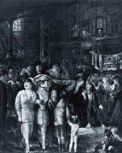 THE STREEET, 1917, a lithograph by realist American artist, George Bellows, who often depicted scenes from lower class urban life