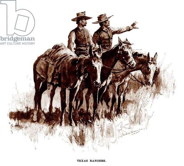 Texas Rangers, lithograph of a wash drawing by Frederic Remington, 1896