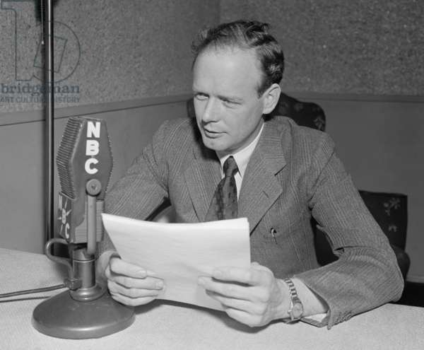 Charles Lindbergh speaking into a NBC microphone. c. 1940. Lindbergh began speaking publically against American involvement in the European War in Sept. 1939
