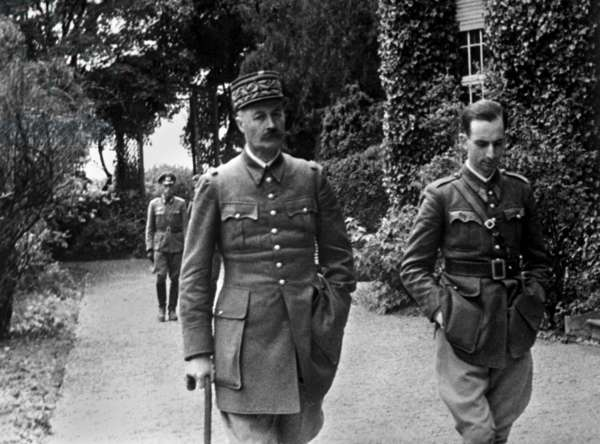French General Giraud, during his daily walk as a POW at Konigstein Castle near Dresden, Germany. Captured in battle on May 19, 1940, he escaped on April 17, 1942