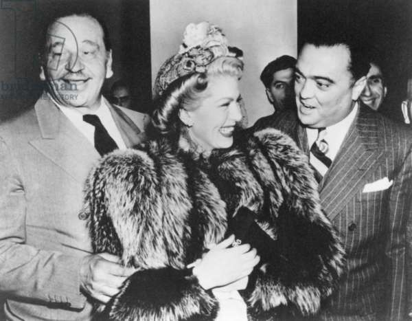FBI Director J. Edgar Hoover with Wallace Berry and Lana Turner. At the Mayflower Hotel in Washington, D.C. c. 1940