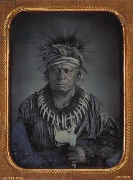 Kee-o-kuk (translates to English as Watchful Fox). 1847 daguerreotype by Thomas M. Easterly. In 1842, Keokuk and several tribal members negotiated the sale of the tribe's land in Iowa. In 1845, despite the land reservation in the 1832 treaty, Keokuk's band was moved further west into Kansas (daguerreotype)