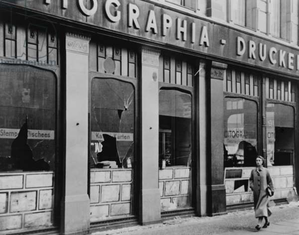 Windows of a Jewish owned printing business smashed during Kristallnacht, Berlin. November 9–10, 1938