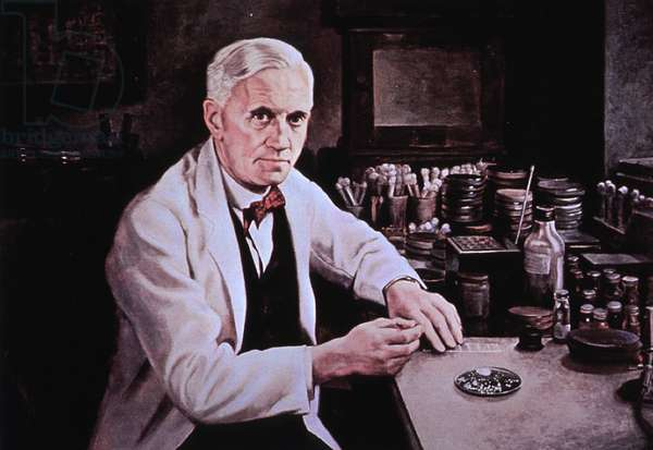 Alexander Fleming (1881-1955), at laboratory table. Painting by Dean Fausett