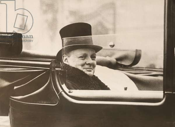 Winston Churchill, leaving Buckingham Palace after receiving his seal of office, Chancellor of Exchequer, from King George V. Nov, 7, 1924