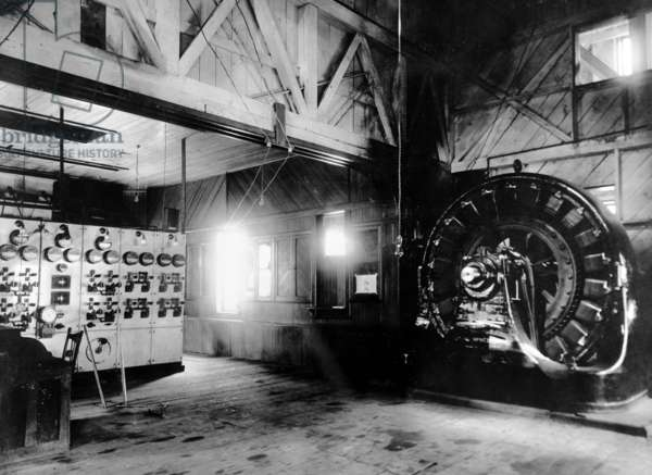 Electricty. Westinghouse AC generator. The world's first single-phase AC power transmission system. Built by Nikola Tesla and George Westinghouse. Ames Hydroelectric Plant, Telluride, Colorado. 1895 powerhouse, photo c. 1900