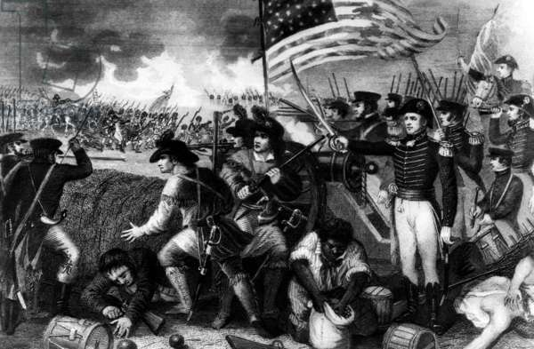 The Battle of New Orleans with Andrew Jackson at the barricade. c. 1810s.