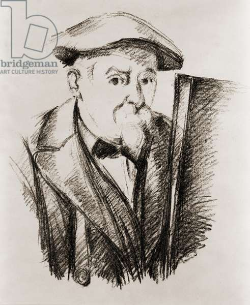 Paul Cezanne (1839-1906), French Post Impressionist painter, in a self portrait at his easel. c. 1900