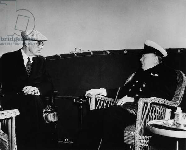 World War II. US President Franklin Delano Roosevelt talks with British Prime Minister Winston Churchill enroute to Yalta Conference, 1945