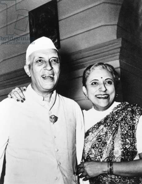 Jawaharlal Nehru with his youngest sister, Krishna Nehru Hutheesing, c. 1950. She was the author of a family history, WE NEHRUS, published in 1967