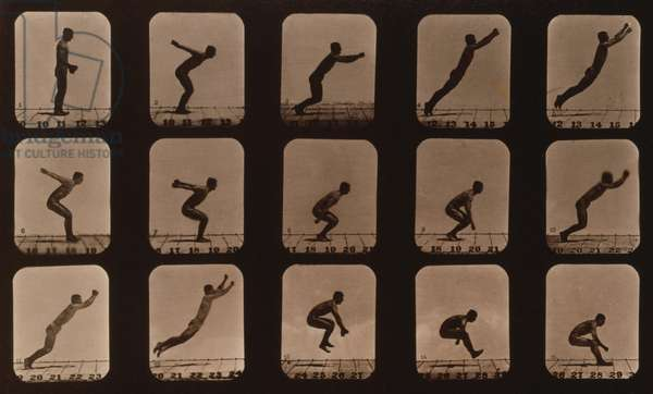 Consecutive images of a man leaping. From Eadweard Muybridge's, THE ATTITUDES OF ANIMALS IN MOTION, 1881