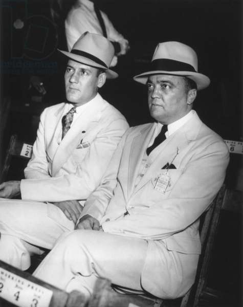 J. Edgar Hoover and Clyde Tolson at the Joe Louis-Jack Sharkey fight. Aug. 18, 1936, New York City