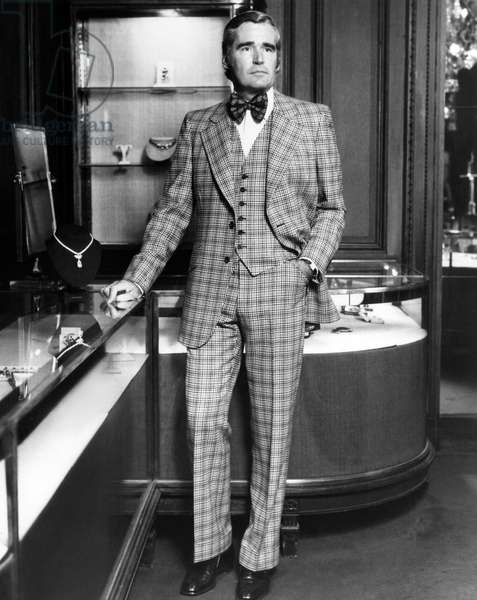 A Christian Dior suit, modeled by Michael Thomas, president of Cartier. The suit will be tailored in the U.S. by Hart Scaffner & Marx and available for the Fall 1974 season. Photo: