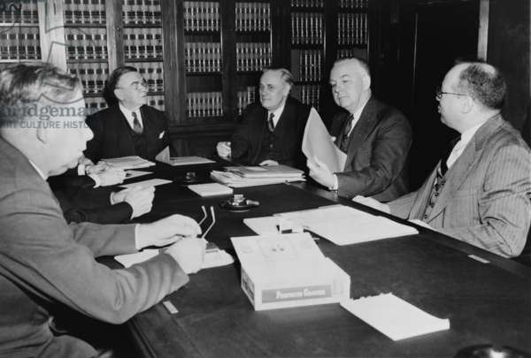 Byron Price (1891-1981), director of Censorship for the United States during World War II, seated with members of Senate judiciary, 1942. Also shown are Senators: John Anthony Danaher, McFarland, Ernest William McFarland, Frederick Van Nuys, and Alexander Wiley