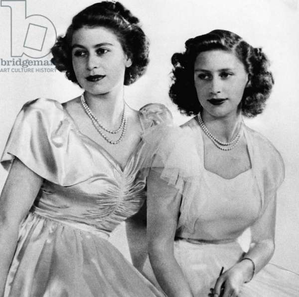British Royal Family. Future Queen of England Princess Elizabeth and future Countess of Snowdon Princess Margaret, c.late 1940s