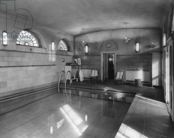 White House swimming pool during the Eisenhower administration. Jan. 27, 1956. It was installed in 1933 to allow the President Franklin Roosevelt to exercise regularly. JFK swam in a highly heated pool for his bad back. Richard Nixon converted it into a Press Room.