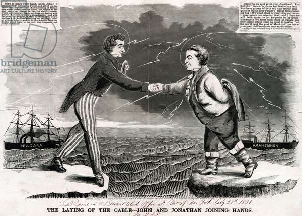 Telegraph. Woodcut of the first transatlantic telegraphic message between the United States and Great Britain. Uncle Sam and John Bull shake hands across the sea. 1858