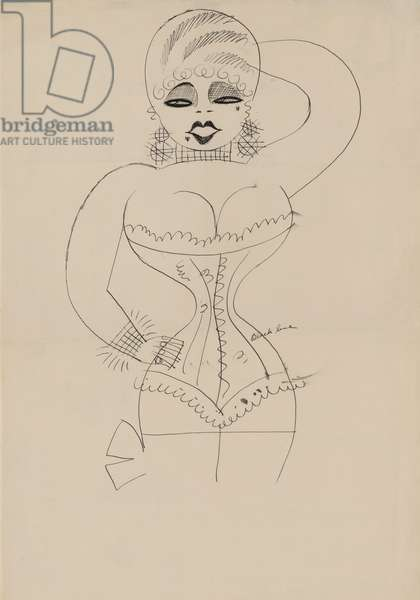 Caricature of a corseted Mae West by Miguel Cobarrubias. c. 1935
