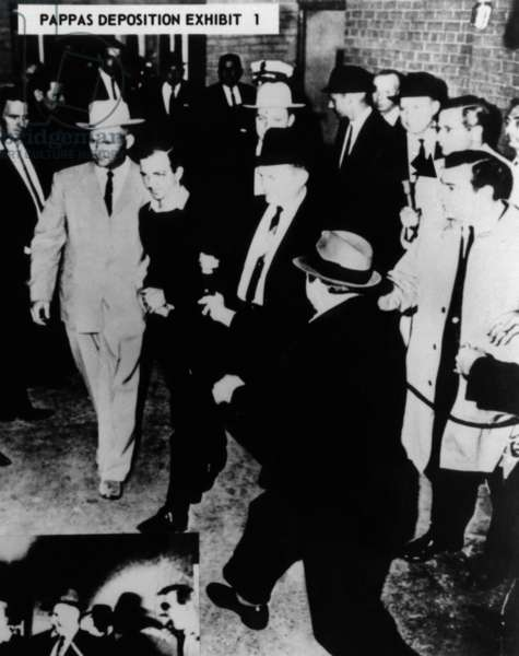Warren Commission Exhibit. Jack Ruby moving toward Oswald in front of newsman Ike Pappas. Nov. 24, 1963
