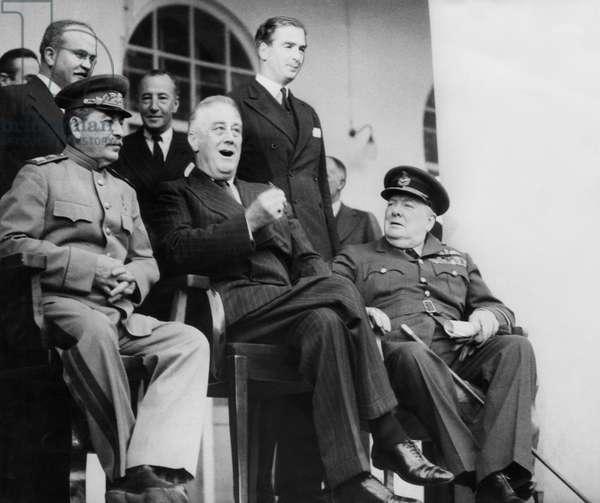 World War II. Soviet Premier Josef Stalin, US President Franklin Delano Roosevelt and British Prime Minister Winston Churchill at the Russian embassy at Tehran, Iran, 1943