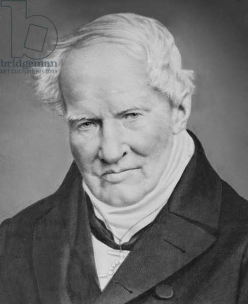 """Alexander von Humboldt (1769-1859) German scientist and explorer of Central and South America from 1799 to 1804. In his later years, he wrote """"Kosmos"""" to unify scientific knowledge. 1860 portrait"""