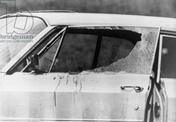 Smashed car window and bloodstains after the murder of Viola Liuzzo. Liuzzo was shot by Ku Klux Klan while ferrying marchers back to Selma from Montgomery. March 25, 1965