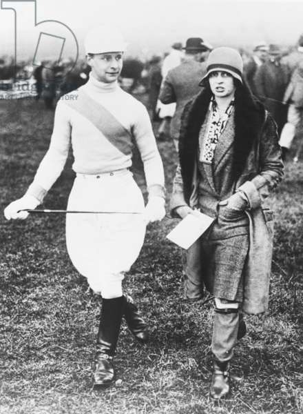 William Waldorf Astor and his sister Nancy Phyllis Astor at the Point to Point Steeplechase Races at Somerton, England, March 1928
