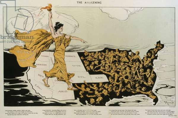 THE AWAKENING. A torch-bearing female, symbolizing the awakening of the nation's women, striding across the western states, where women already had the right to vote, toward the East where women are reaching out to her. 1915
