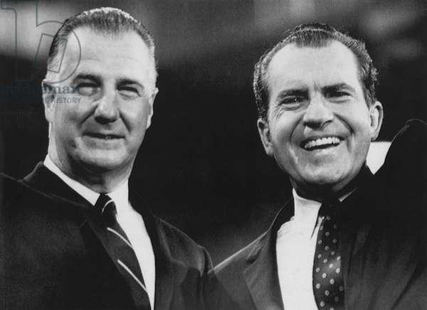 Nixon Presidency. Vice President Spiro Agnew and US President Richard Nixon, c.1972