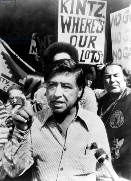 Cesar Chavez in the fight for farm workers' rights, 1975