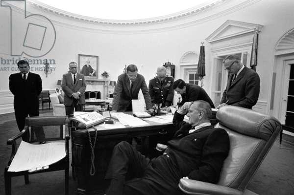 Detroit riots crisis meeting. President Lyndon Johnson meeting with (L-R): Marvin Watson, J. Edgar Hoover, Robert McNamara, General Harold Johnson, Joe Califano, Sec. of the Army Stanley Resor. July 24, 1967