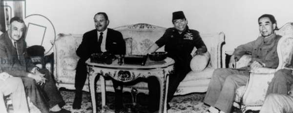 Powerful members of the Non-Aligned Movement. Leaders of China, Indonesia, Pakistan, and Egypt meet in Cairo on Jun. 28, 1965.L-R: Zhou Enlai, Sukarno, Ayub Khan, and Gamel Nasser