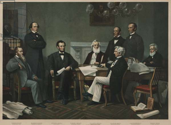 The first reading of the Emancipation Proclamation before the cabinet, July 22, 1862. Left to right: Edwin Stanton, Salmon Chase, Lincoln, Gideon Wells, Caleb Smith, William Seward, Montgomery Blair, Edward Bates