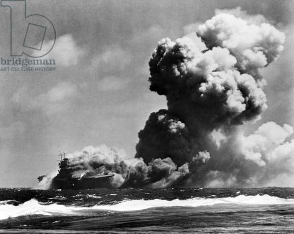 The USS Wasp burning after she was struck by three torpedoes from a Japanese submarine. South West Pacific, east of the Solomon Islands, where she sank on Sept. 15, 1942