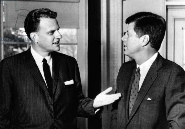President John Kennedy with Baptist Evangelist Billy Graham at the White House. Dec. 12, 1961
