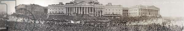 Panoramic scene of Woodrow Wilson's (1856-1924), second inauguration as President on March 5th, 1917