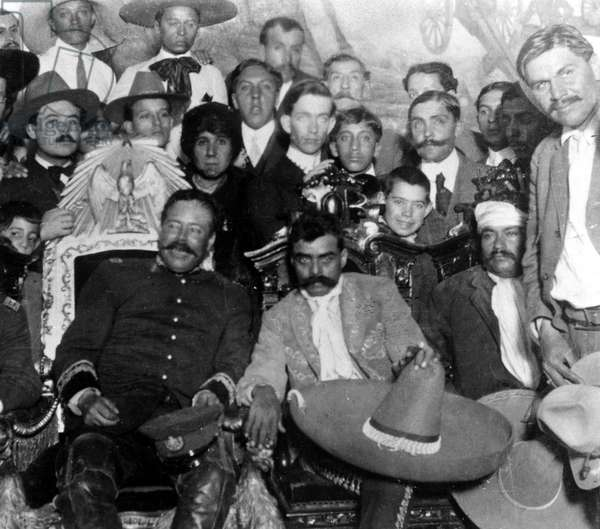 Otilio E. Montano, Emiliano Zapata (holding sombero), Pancho Villa and fellow revolutionaries, December 6, 1914