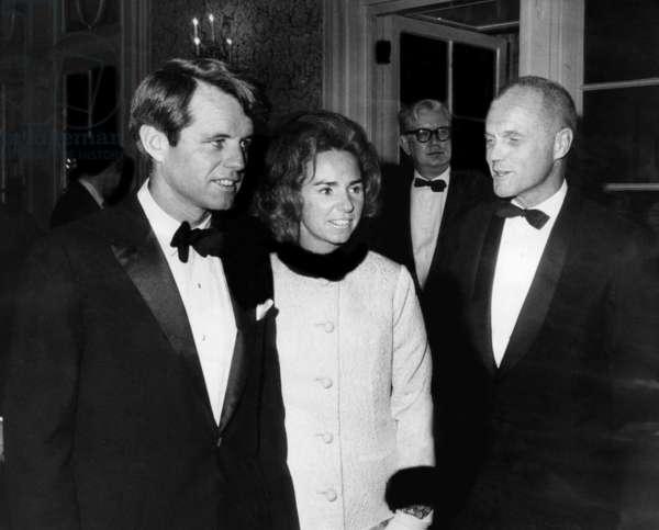 Senator Robert F. Kennedy, Ethel Kennedy, former astronaut John Glenn, at the Plaza Hotel, New York, December 10, 1967.