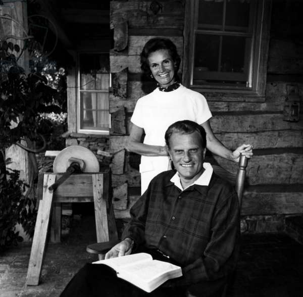 Evangelist, Billy Graham and his wife Ruth at their home in Montreal, North Carolina, 1972.