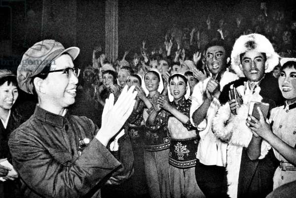 Jiang Qing (front left, 1914-1991), wife of Chairman Mao Tse Tung (aka Mao Zedong), meets with artists and writers of the People's Liberation Party. May 13, 1970
