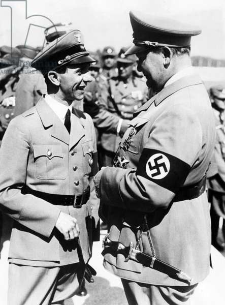 Two of Adolf Hitler's top aides, Dr. Joseph Goebbels, Reich propaganda minister, and General Hermann Goering, air minister attend the Nazi Convention at Nuremberg, Germany, September 13, 1937