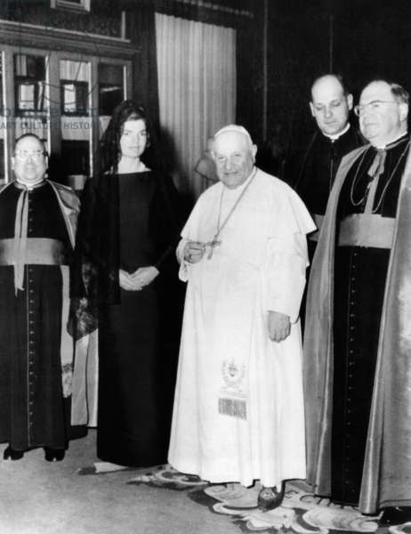 Jacqueline Kennedy in an audience with Pope John XXIII. At left is Msgr. Pius A. Benincasa, and at right, Msgr. Martin J. O'Connor. March 11, 1962