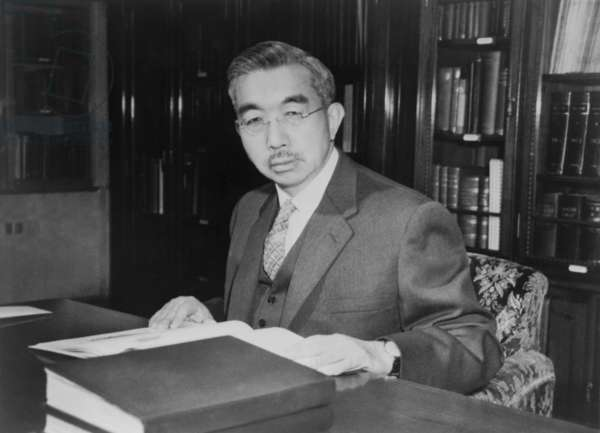 Japan's Emperor Hirohito, at his desk in Tokyo's Imperial Palace. 1962.